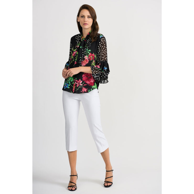 Joseph Ribkoff - 201323 Spanish Inspired Floral and Polkadots Blouse - Blouses - 201323