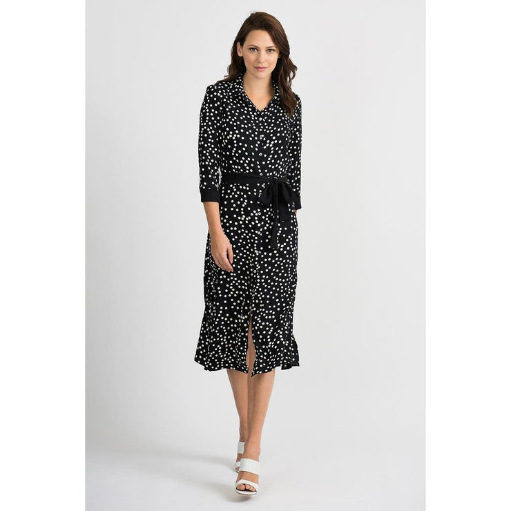 Joseph Ribkoff - 201387 3/4 Sleeve Polka Dots Dress with Black Sash Belt - Dress - 201387-1