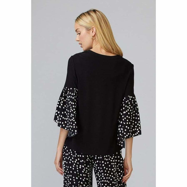 Joseph Ribkoff - 201504 Black Top with Polka Dots Slve - Blouses - 201504