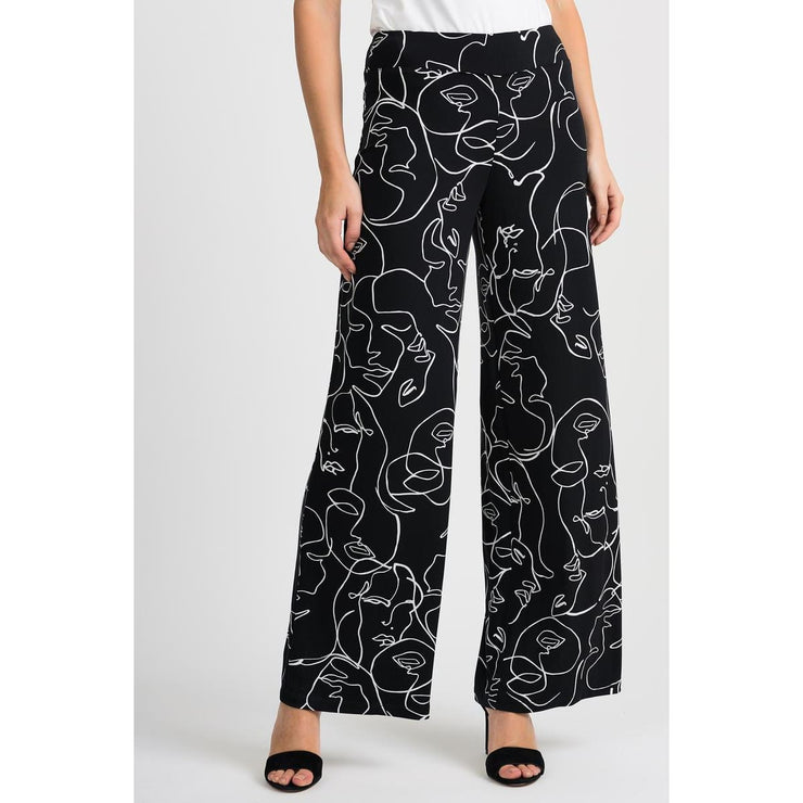Joseph Ribkoff - Black and White Wide Leg Pant - Pants - 201184-1