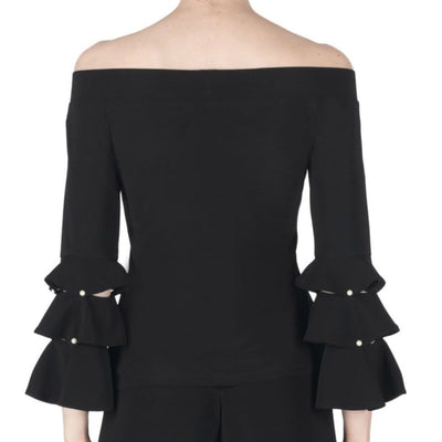 Joseph Ribkoff - Black Off Shoulder Pearl Top - Top - 183156