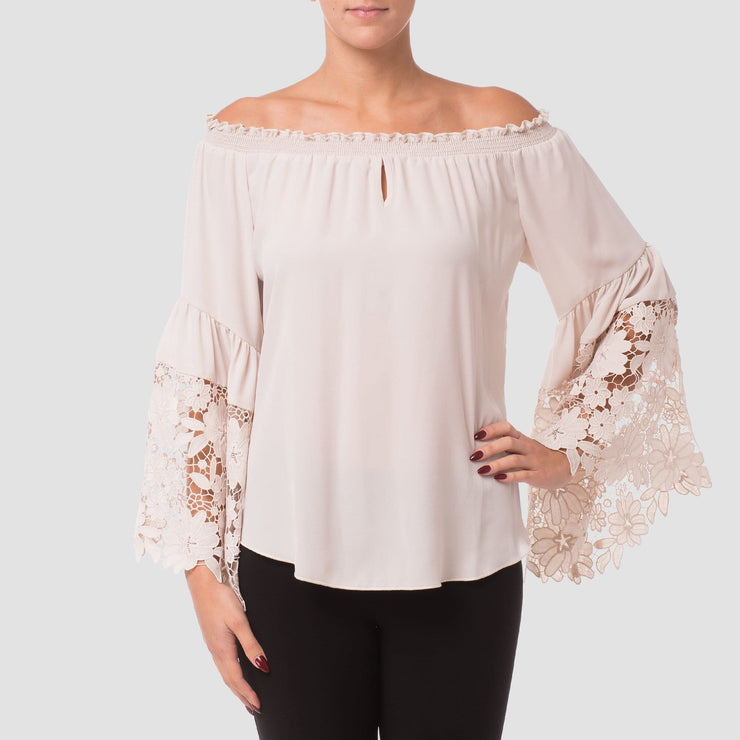Joseph Ribkoff - Champagne Bell Sleeve Top - Top - 173286W-1