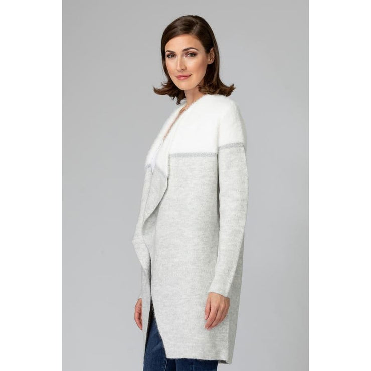 Joseph Ribkoff - Grey/white Sweater Cardigan with Silver detail - Top - 194906-1
