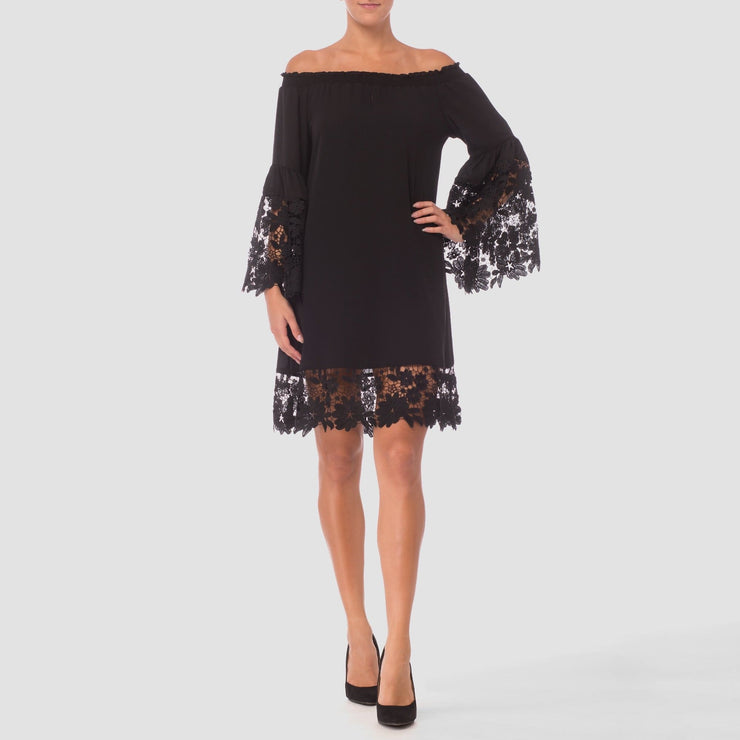 Joseph Ribkoff - Lace Bell Sleeve Dress - Dress - 181242