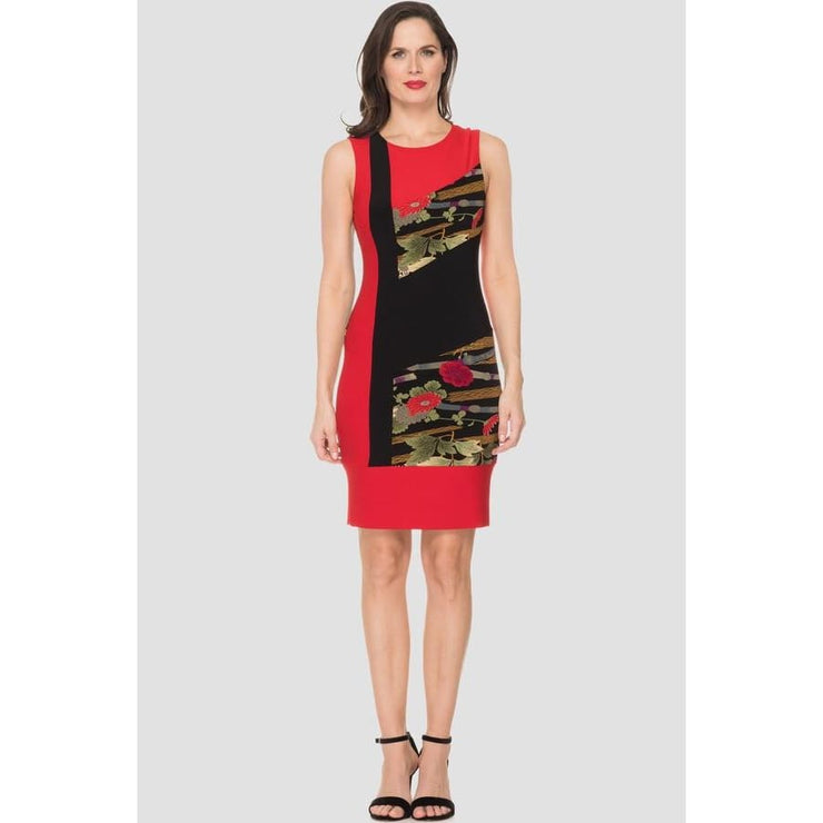 Joseph Ribkoff - Red Black Print Dress - Dress - 191765