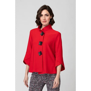 Red Jacket with Black Square Buttons
