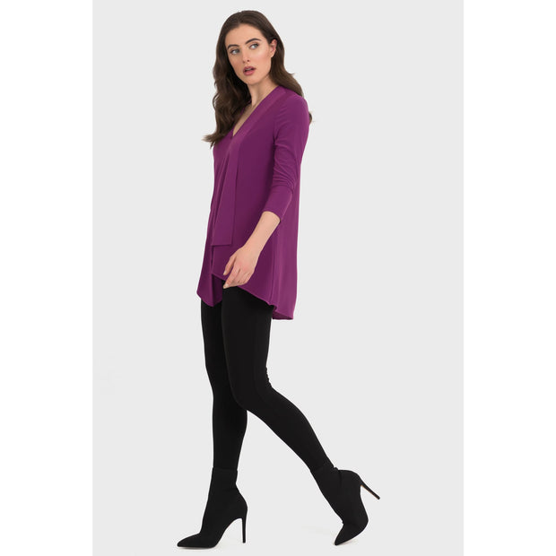 Joseph Ribkoff - V-Neck Top with Uneven Hem - Top - 161066