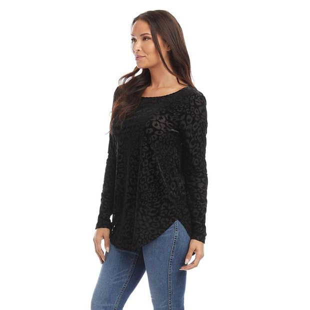 Karen Kane - 3L44572 Karen Kane Velvet Burnout Shirttail Top - Shirt