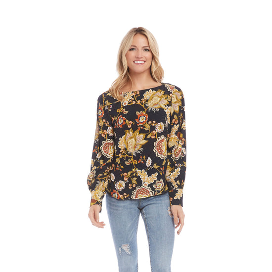 Karen Kane - Autumn Print Long Sleeve Top - Top - 3L20162