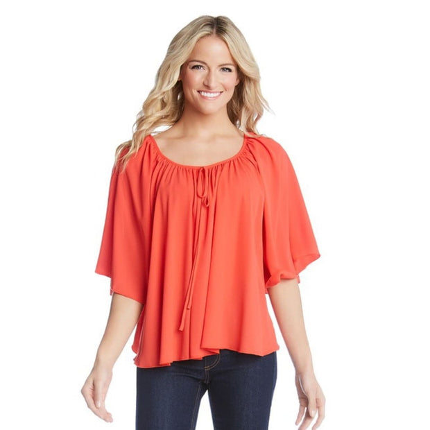 Karen Kane - Flare Bright Orange Top - Top - KK-1L25446