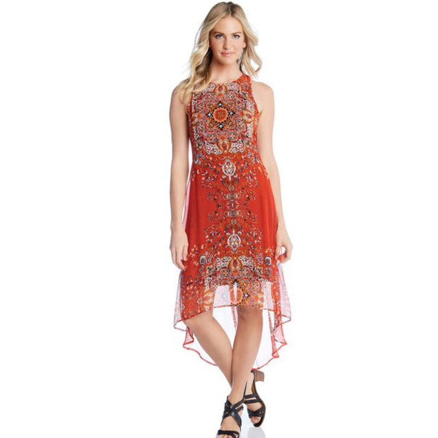 Karen Kane - Hi-low Orange Print Dress - Dress - KK-1L21579