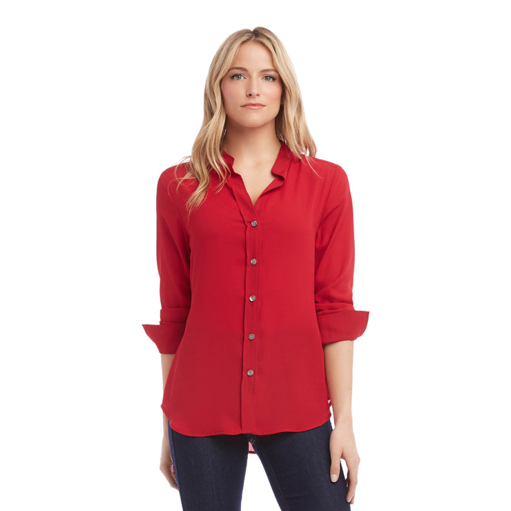 Karen Kane - Shirred Sleeve Button-Up Shirt - Top - 2L25453