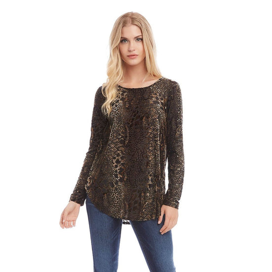 Karen Kane - Velvet Burnout Shirttail Top - Top - 3L17592-1