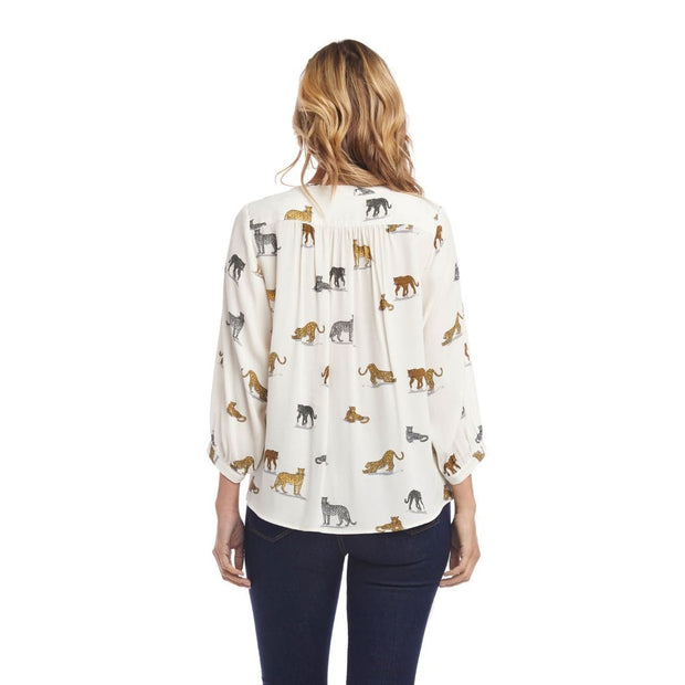 Karen Kane - Whimsical Cheetahs 3/4 Sleeve top - Top - 1L69304