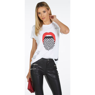 Lauren Moshi - Edda Checker Tongue Tshirt White - T-Shirts