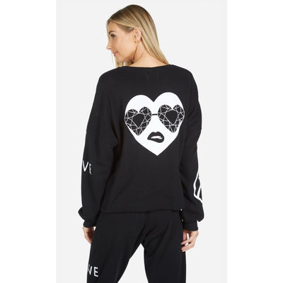 Lauren Moshi - Lee Bling Heart Sweatshirt Black - Loungewear