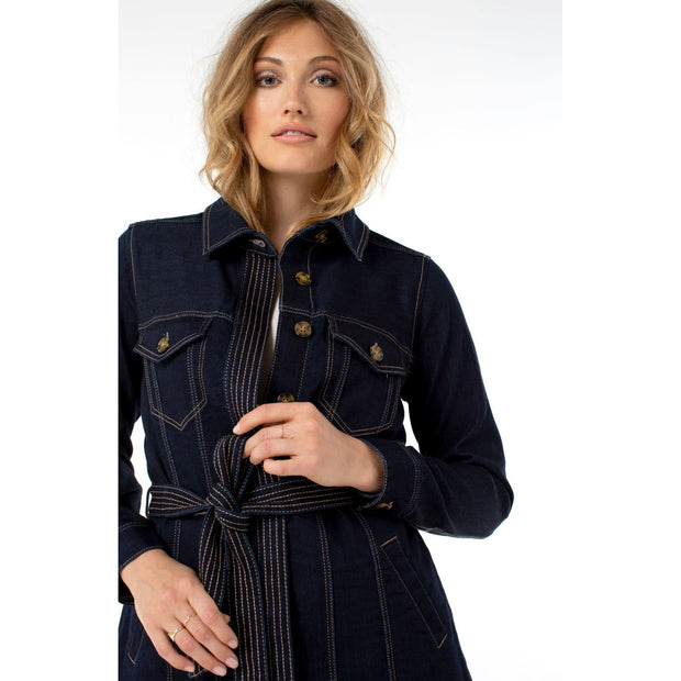 LIVERPOOL - Belted Long Jacket Silki Soft - Jacket