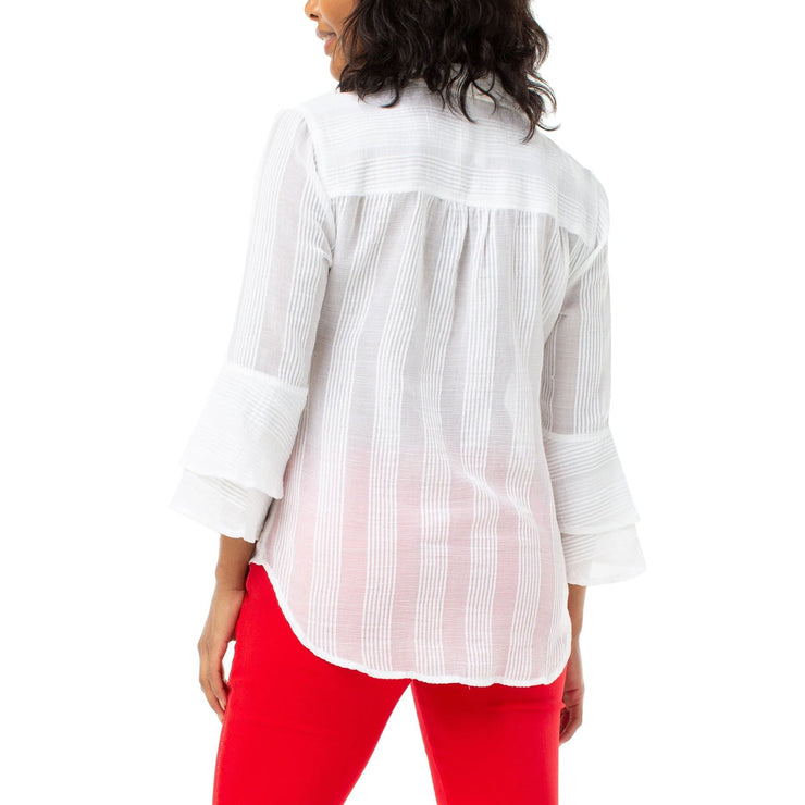 LIVERPOOL - Button Front Tiered Bell 3/4 Sleeve White - Blouses