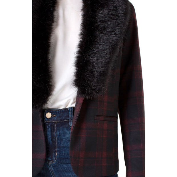 LIVERPOOL Jeans - Red and Black Plaid Fitted Blazer with Detachable Faux Fur - Jacket - LM1601Z84F -1