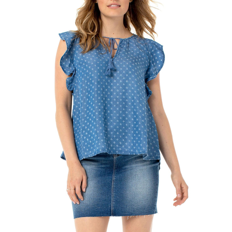 LIVERPOOL - Tie Front Blouse With Cascading Ruffle - Top