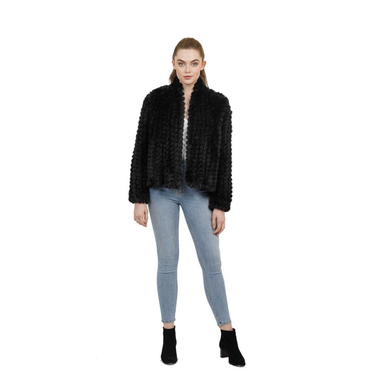 Love Token - Glen Black Faux Fur Open Jacket - Jacket