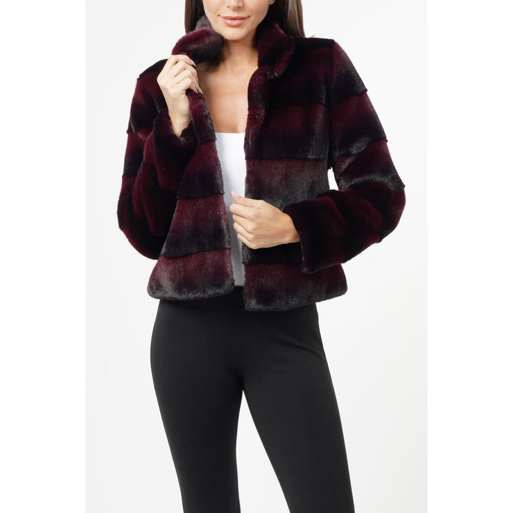 Love Token - LT12-60 Billy Faux Fur Burgundy Jacket - Jackets and Coats