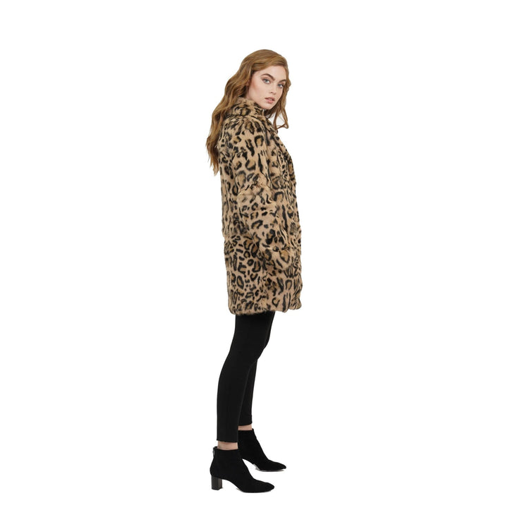 Love Token - Ronnie Leopard Print Genuine Rabbit Fur Coat - Jacket