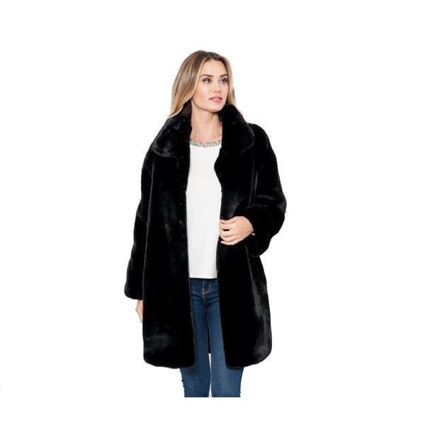 Love Token - Turner Black Faux Fur Coat - Women - LT12-25