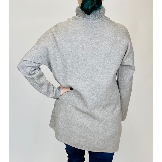 M Made In Italy - 33/3529N Taupe Turtleneck Sweater with Pockets - Sweater