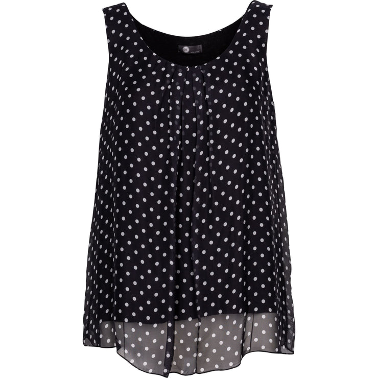 M Made In Italy - Black and White Polkadots Slvlss Top - Top