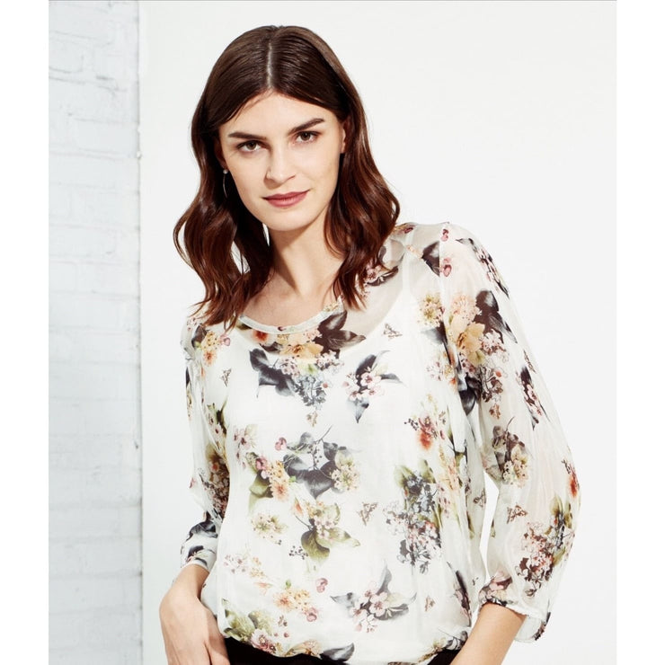 M Made In Italy - Cream Floral Blouse - Women - 10/61654