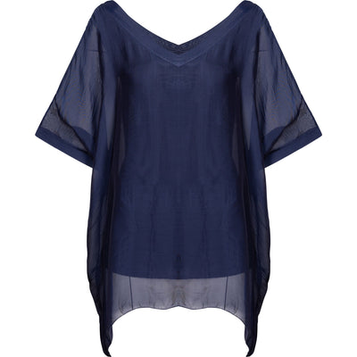 M Made In Italy - Navy Silk & Viscose Top - Top - 10/5801M-1