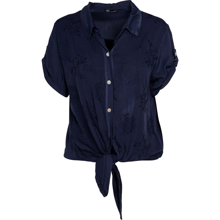 M Made In Italy - Short Sleeve Button Down Viscose Top - Top