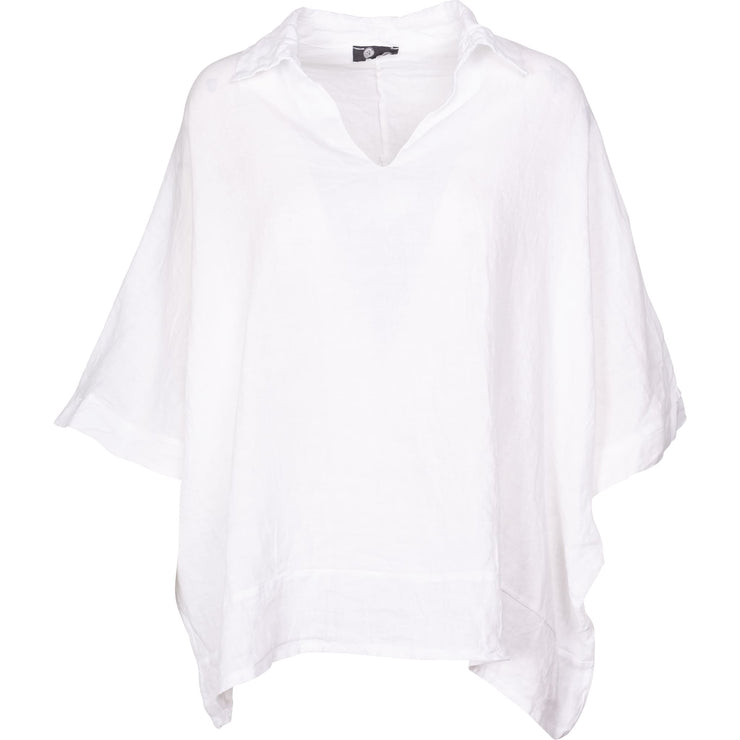 M Made In Italy - Short Sleeve White Linen Top - Top - 10/6643M-1