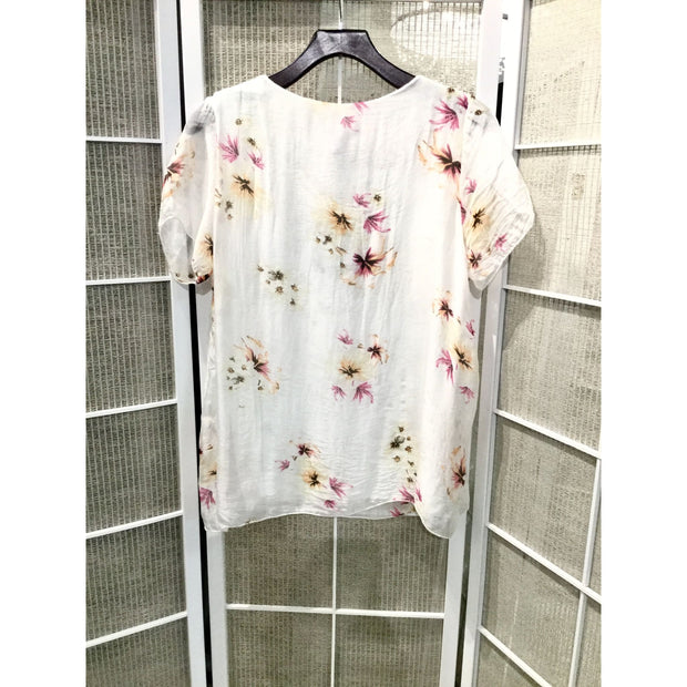 M Made In Italy - M Made in Italy Silky Floral Top - Women - 10/6626