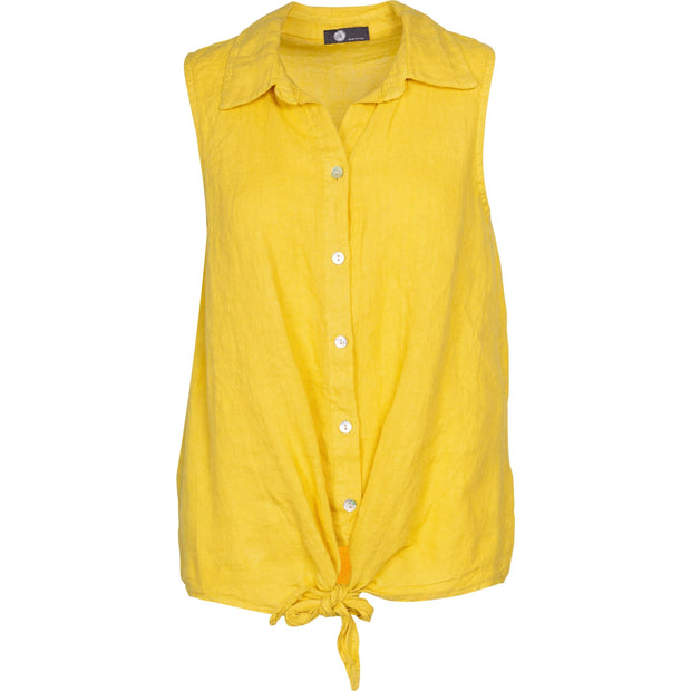 M Made In Italy - Sleeveless Yellow Linen Top - Top