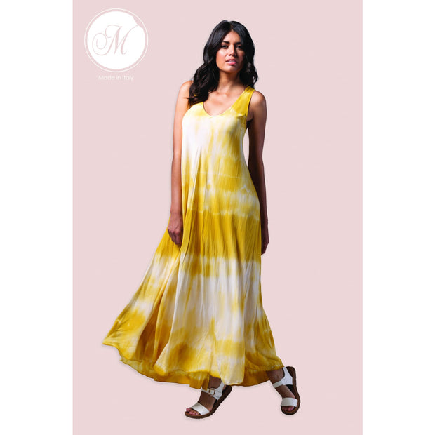 M Made In Italy - Tie Dye Maxi Dress Yellow - Dresses