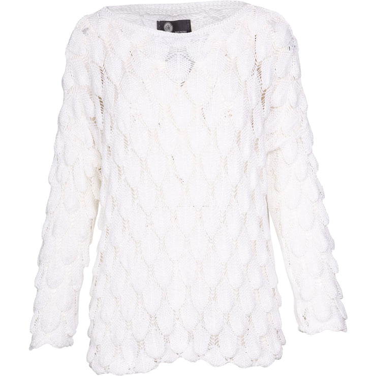 M Made In Italy - Weave Knit Scallop Hem White Top - Top