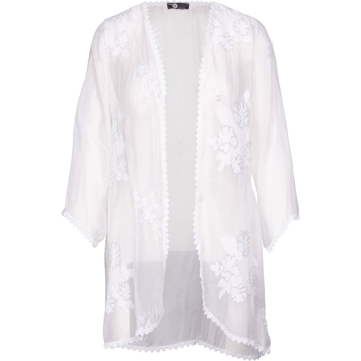 M Made In Italy - White 3/4 Slv Cardigan With Embroidery - Top - 17/62790M-1