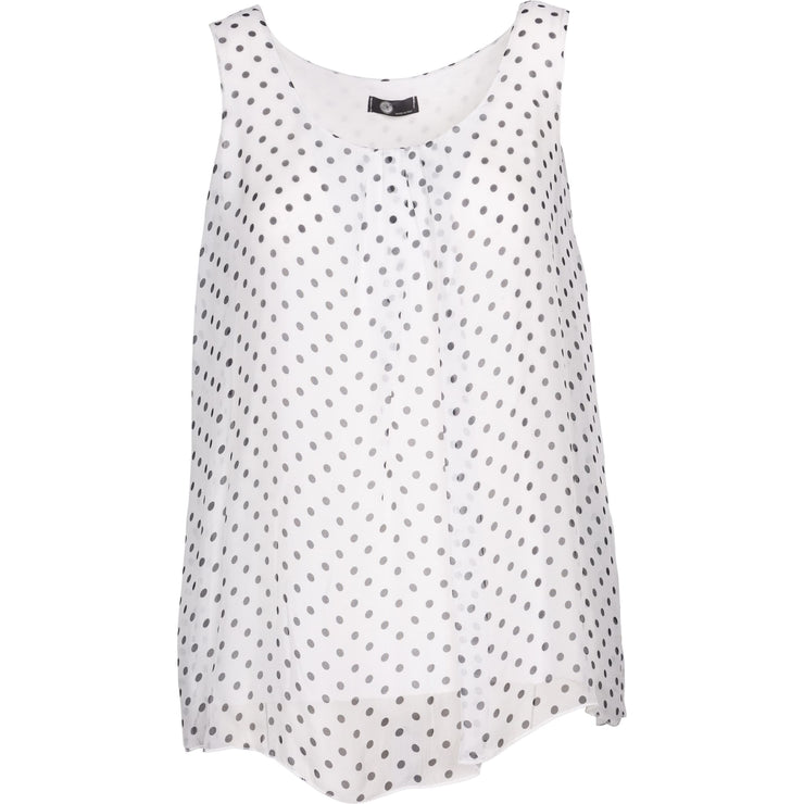 M Made In Italy - White and black Polka Dots Slvlss Top - Top