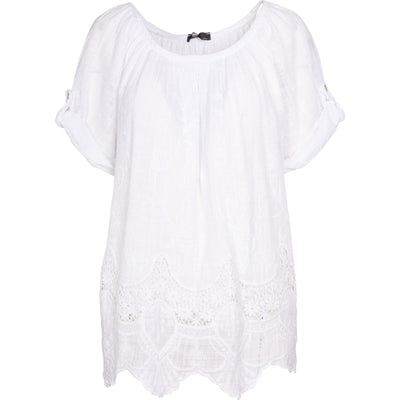 M Made In Italy - White Cotton Top with Lace bottom detail - Blouses
