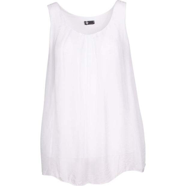 M Made In Italy - White Fluttering Sleeveless Top - Top