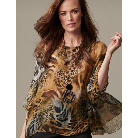 M Made In Italy - Woven Tunic with 3/4 Sleeve in Animal Print - Top - 20/1688DL-1