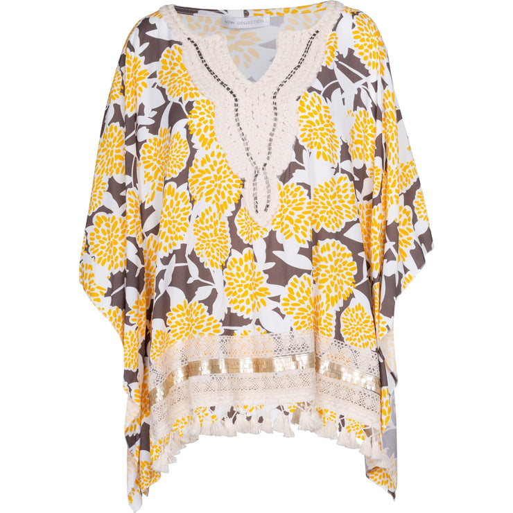 M Made in Italy - Woven Tunic Yellow and Taupe - Tops