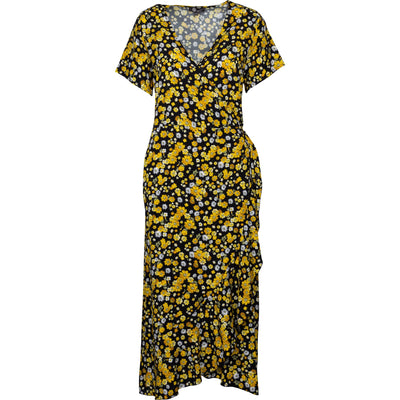 M Made In Italy - Wrap Dress in Yellow Flowers - Dresses
