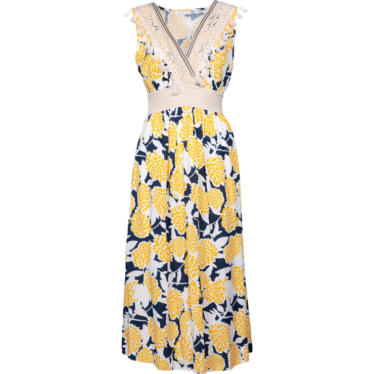 M Made In Italy - Yellow and Navy Combo Maxi Dress - Dresses