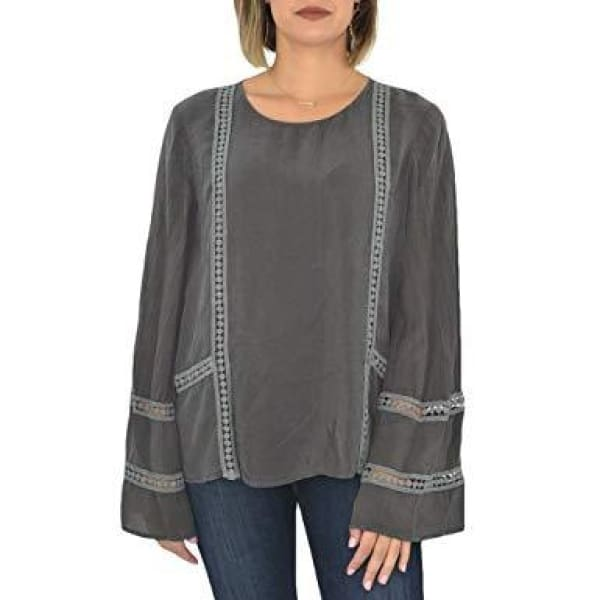 Maven West - Long Bell Sleeve Round Neck Shirt - Women - MAV8890C2