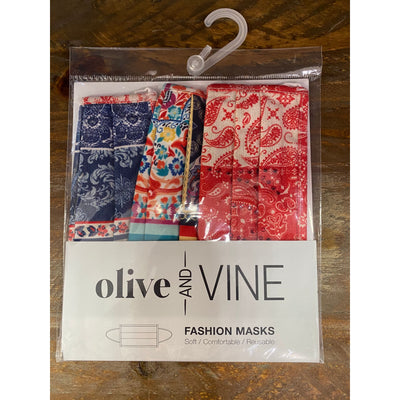 Olive & Vine - Hanky Patch Mask 3 Pack - Accessories