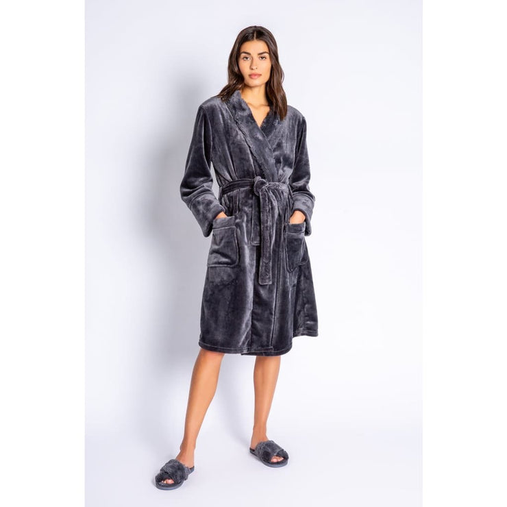 PJ Salvage - RULPR PJ Salvage Luxe Plush Robe Charcoal/Blush - Robe