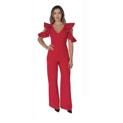 POSH Couture - Jumpsuit with Ruffle Sleeve - Dress - 1665-1